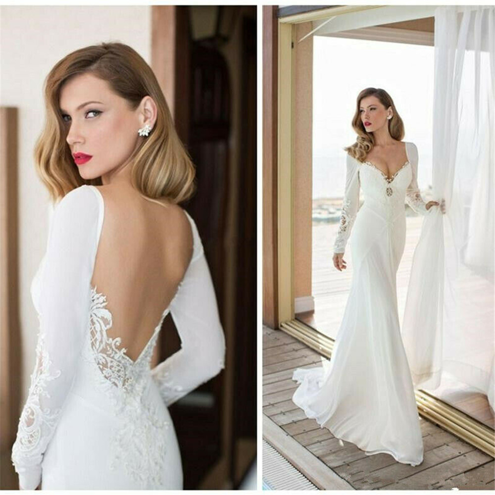 Details About White Elegant Long Sleeve Beach Boho Wedding Dress Bridal Gowns Mermaid Lace