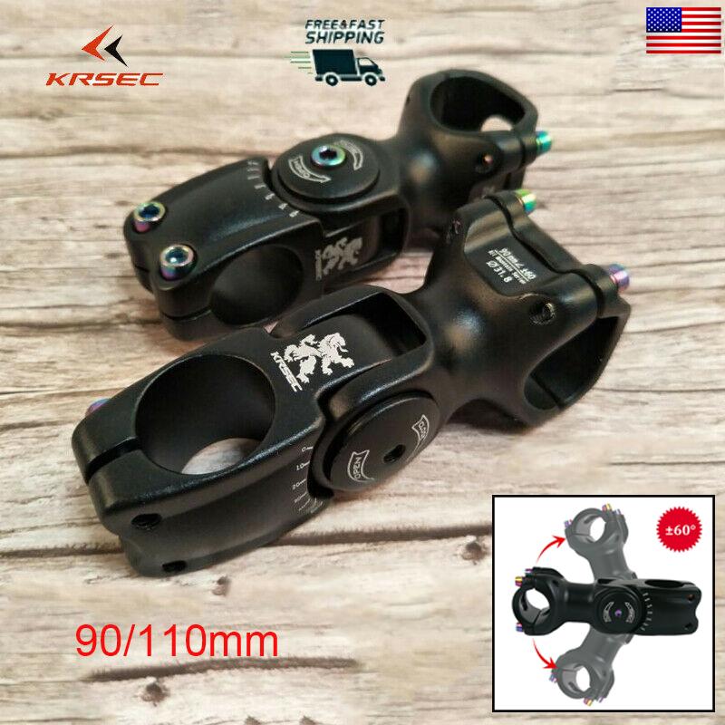 MTB Adjust 120° Stem 25.4//31.8*90//110mm Aluminum+Titanium-plated Road Bike Screw