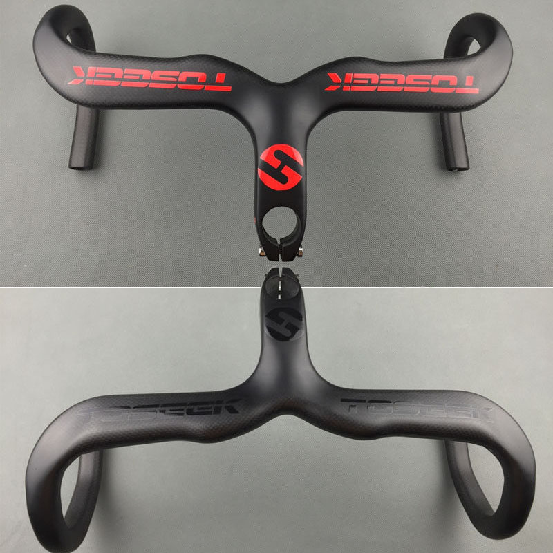 Carbon Road Bike Racing Drop Integrated Bar Stem Handlebar 400//420//440mm Black