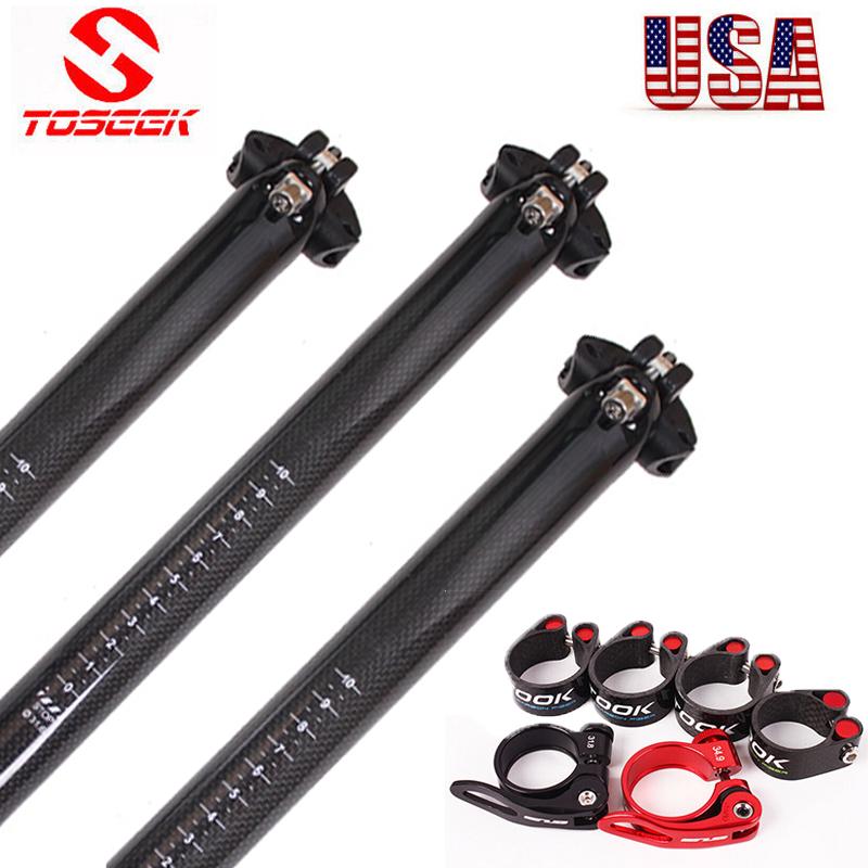 "TOSEEK Carbon Fiber 27.2//30.8//31.6/"" MTB Bicycle Seatpost Clamp Aluminum Alloy US"