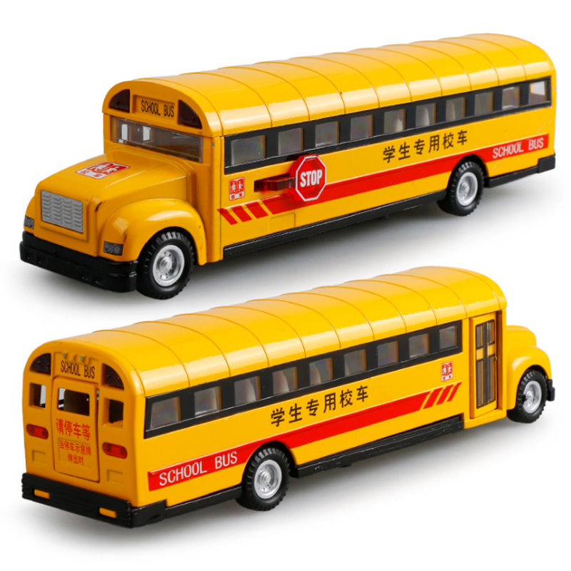 yellow pull back school bus alloy diecast toy vehicles with lights