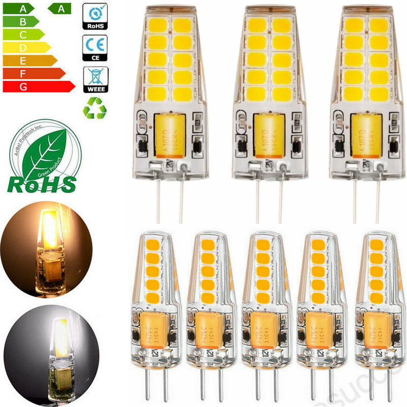 G4 3W//6W LED Crystal Silicone Lamp Light COB Warm//Cool Bulb 12V AC//DC 1//4//8 Pcs