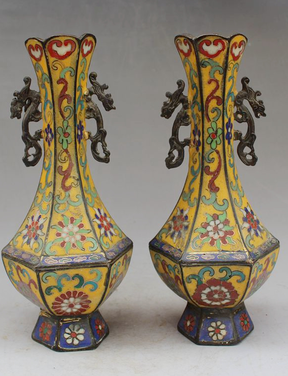 Chinese Antiques Cloisonne Enamel With Animal Ears A Pair Of Vases
