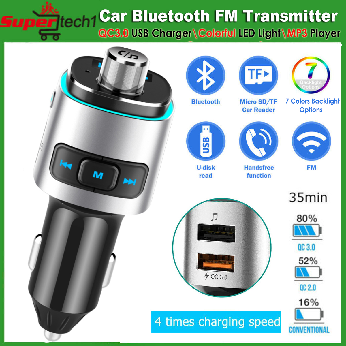 Bluetooth FM Transmitter FM MP3 Music Audio Adapter Car Charger 4.2 Kit USB AUX