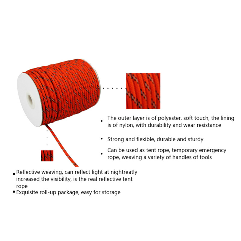 20M All Night Light Rope 9 Core Nylon Rope Outdoor Camping Tent Rope Clothesline