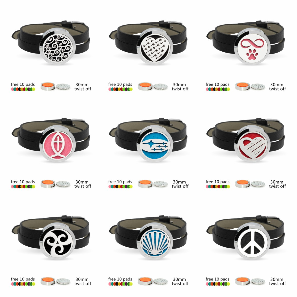 Pu Leather Stainless Steel Aroma Essential Oil Diffuser Locket Bracelet+10pads Wristbands Aromatherapy