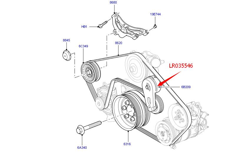 new belt tensioner fits land rover lr4 range rover sport 3 0l 5 0l lr035546