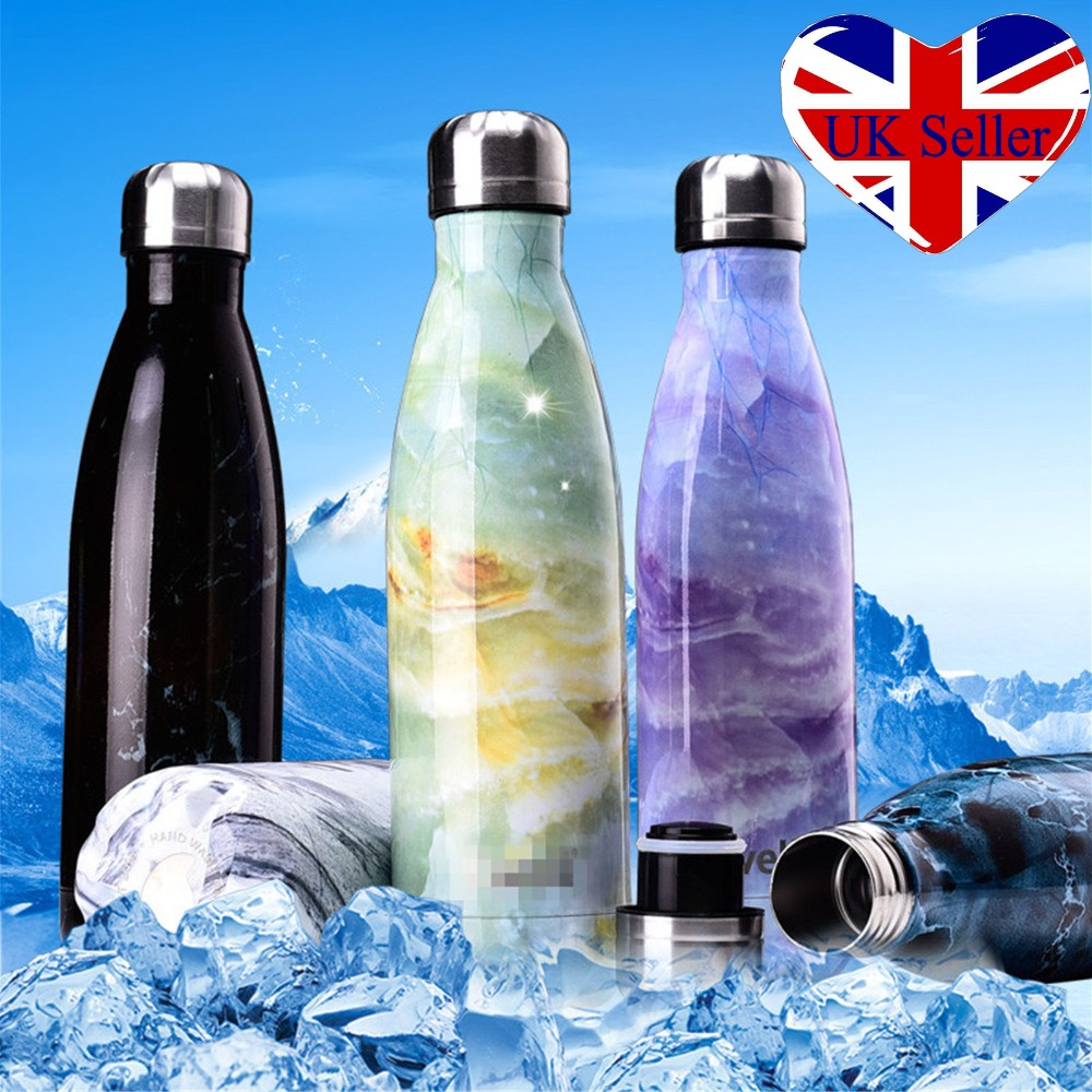 UK Water Bottle Flask Thermos Stainless Steel Double Wall Vacuum Insulated 500ML