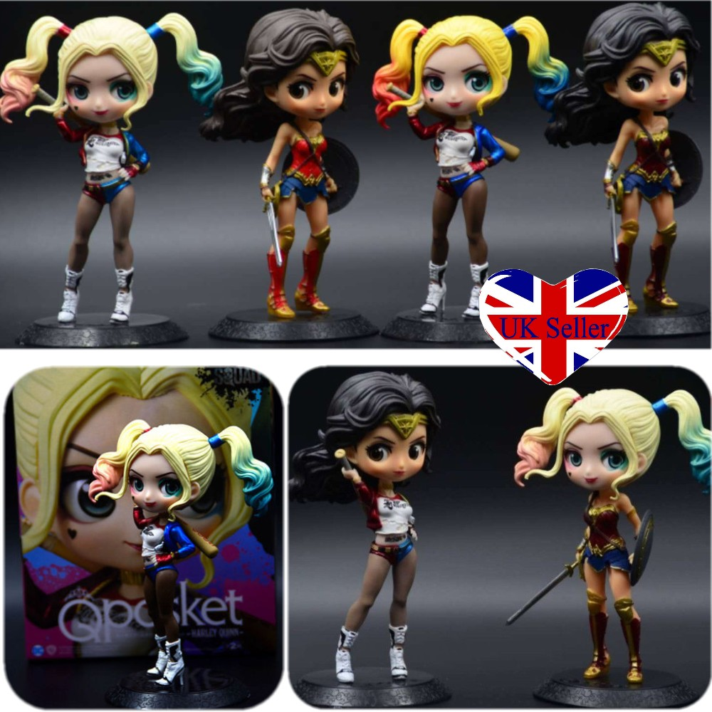 Qposket Suicide Squad Harley Quinn Wonder Woman Action Figure Cake Topper Toy UK