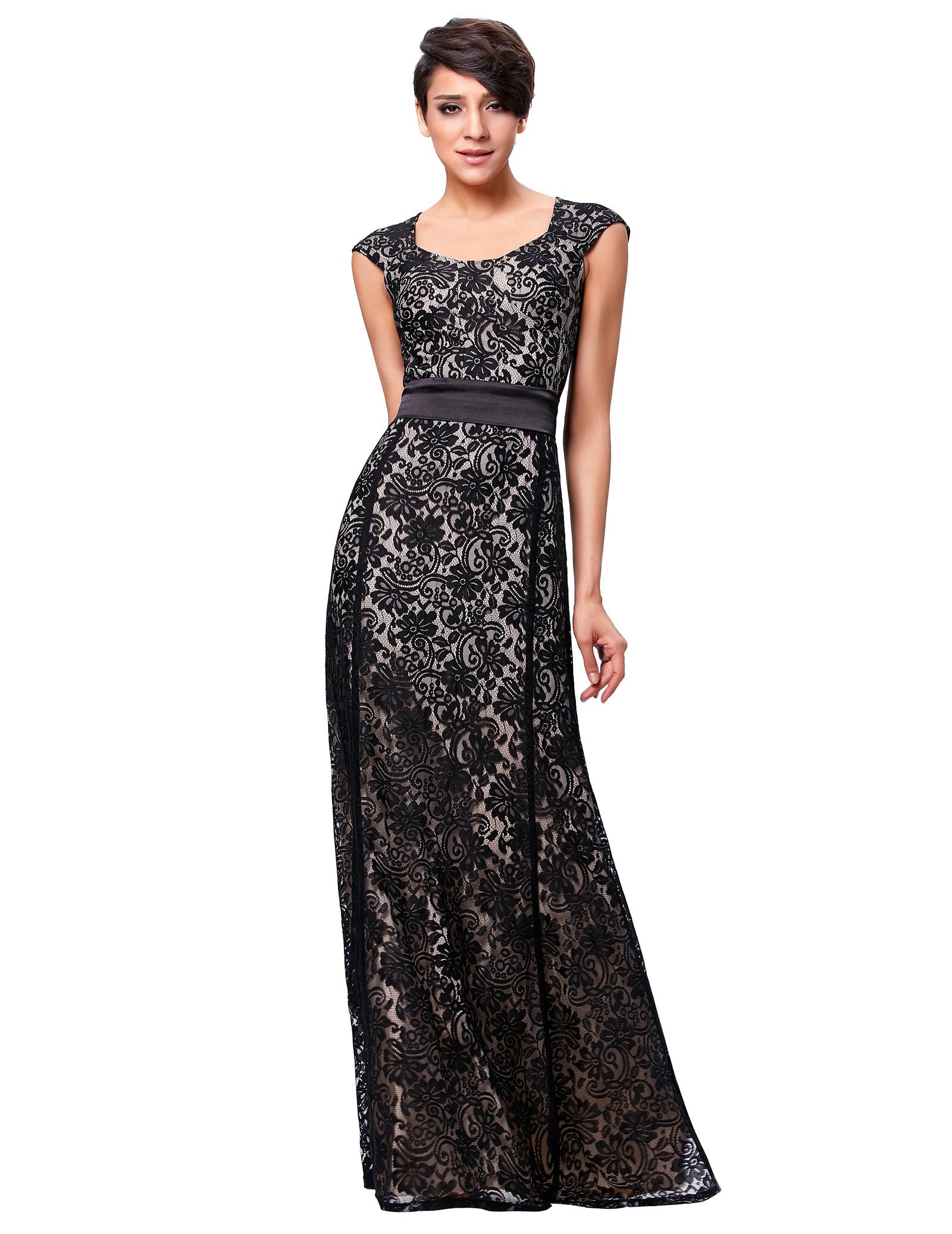 Damen Abendkleid VTG Stil Viktorianischer Spitze Formalen ...