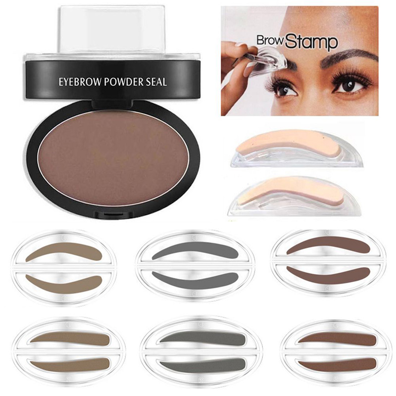 Natural Eyebrow Powder Makeup Brow Stamp Palette Waterproof Shadow