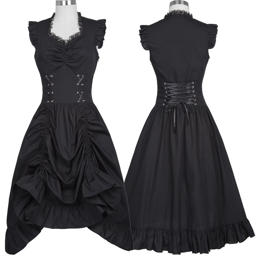 Retro Gothic Victorian Steampunk Dress Women\'s Ruffled V Neck Corset ...