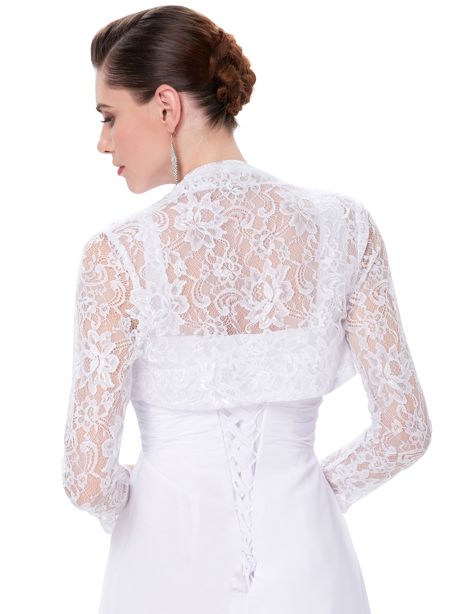 Womens Lady Long Sleeve Cropped Lace Shrug Bolero Crop Top ...
