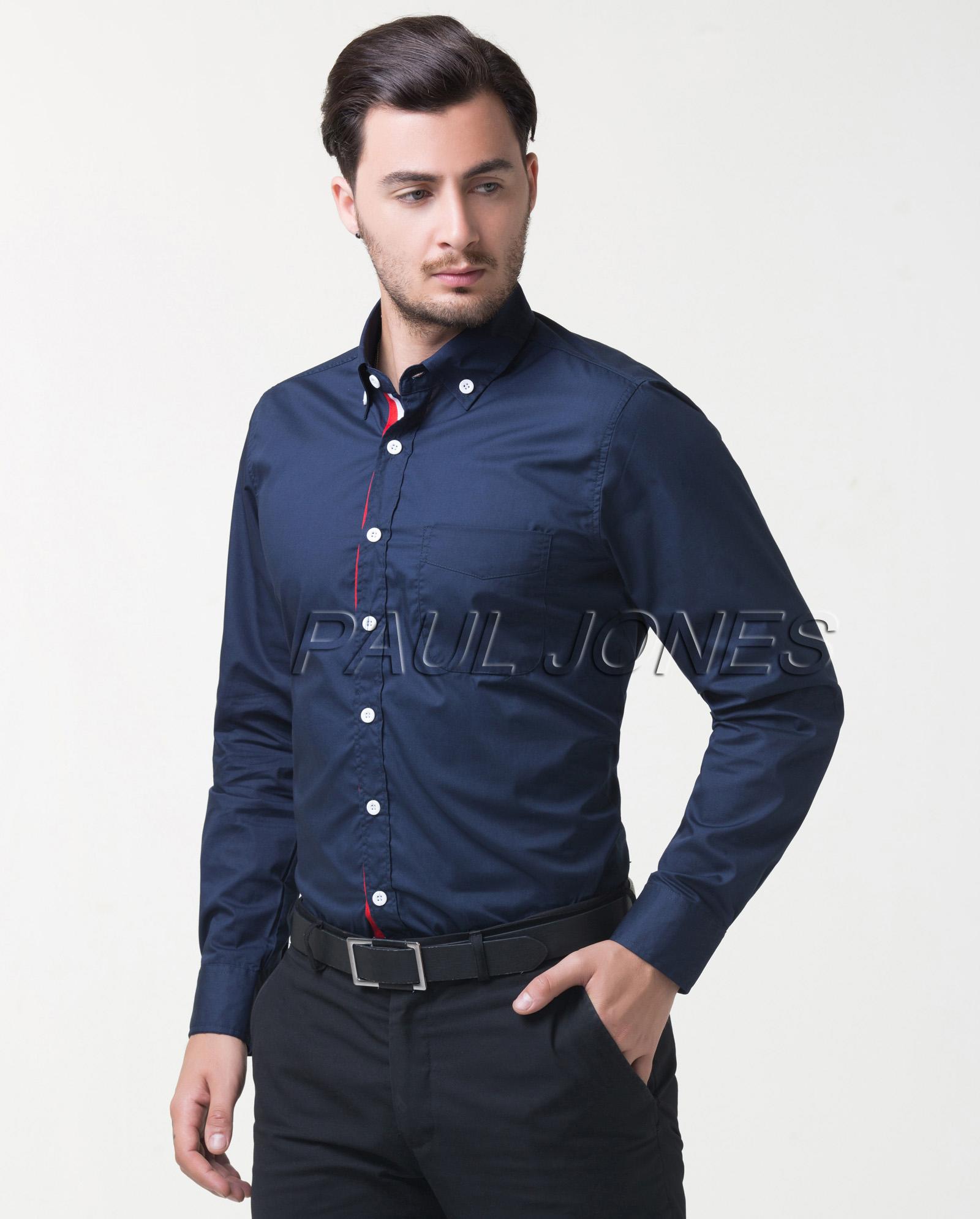 herren formales hemd slim kontrast t shirt polo. Black Bedroom Furniture Sets. Home Design Ideas
