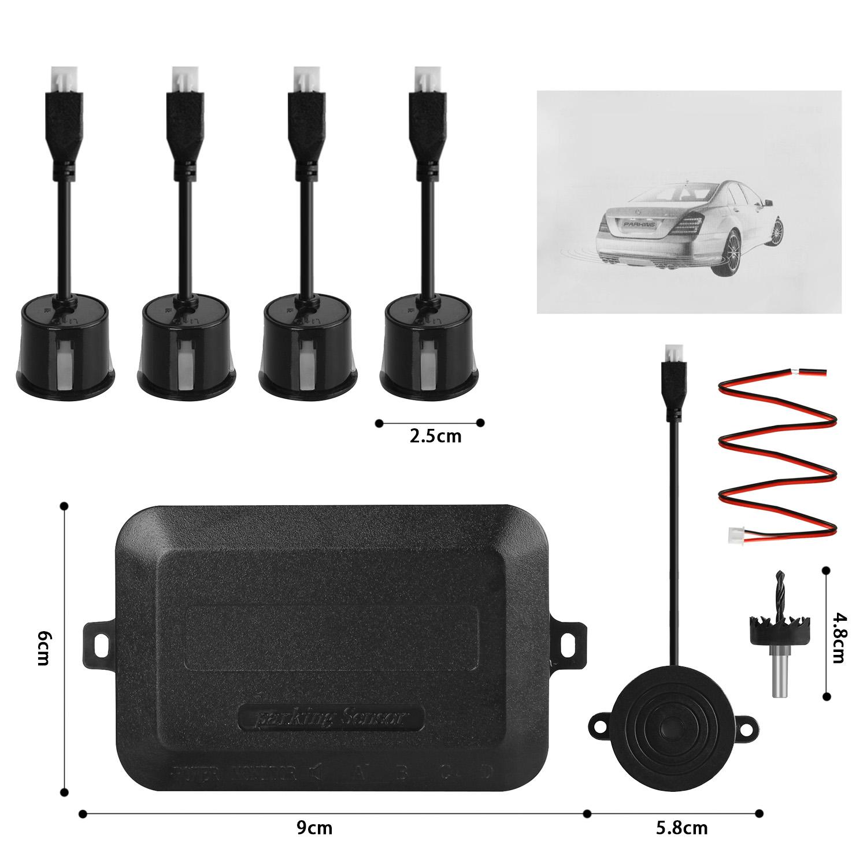 auto einparkhilfe zum nachr sten hinten parkhilfe r ckfahrwarner pdc 4 sensoren ebay. Black Bedroom Furniture Sets. Home Design Ideas