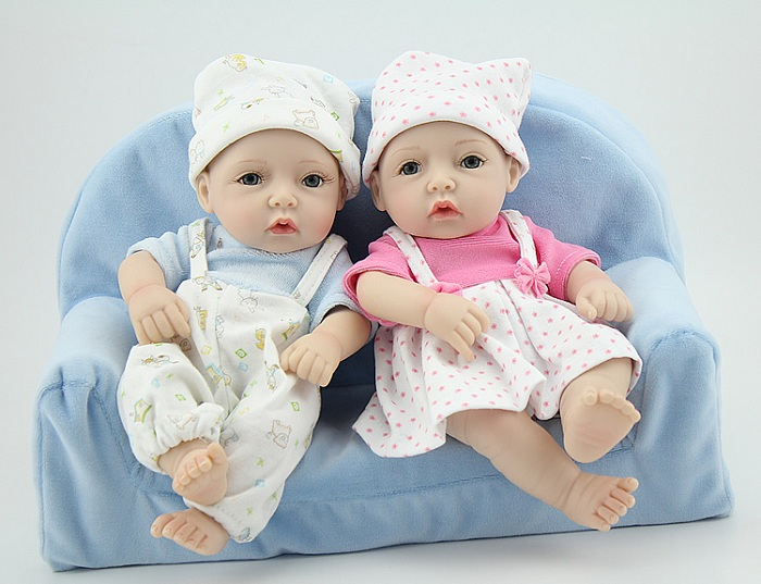 Real Lifelike 12 inch 28cm Vinyl Reborn Dolls Soft Silicone Baby Girl Boy Twins