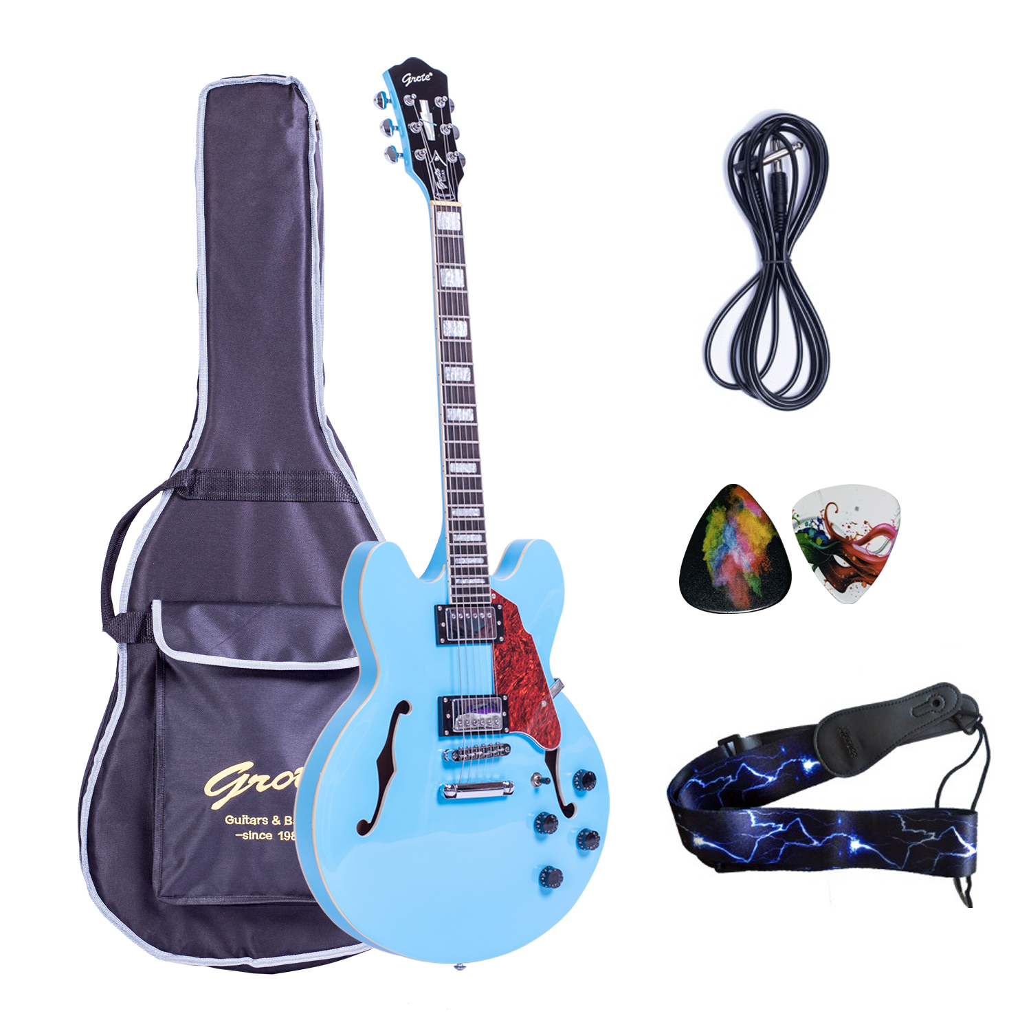 wholesale grote miami blue electric jazz guitar semi hollow body with gigbag ebay. Black Bedroom Furniture Sets. Home Design Ideas