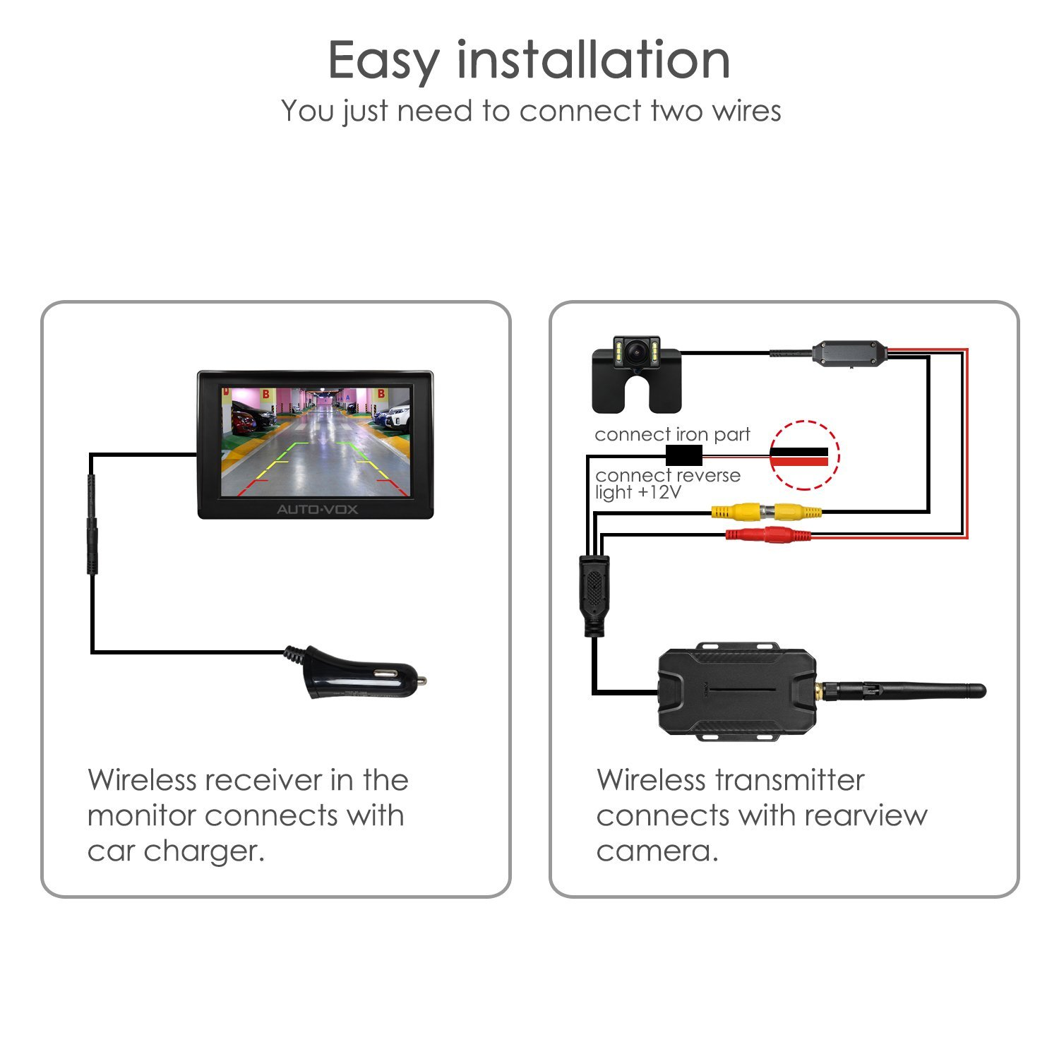 Autovox M1w Wireless Backup Camera Kit 43 Tft Lcd Rear View Monitor Wiring Car Reversing Mirror
