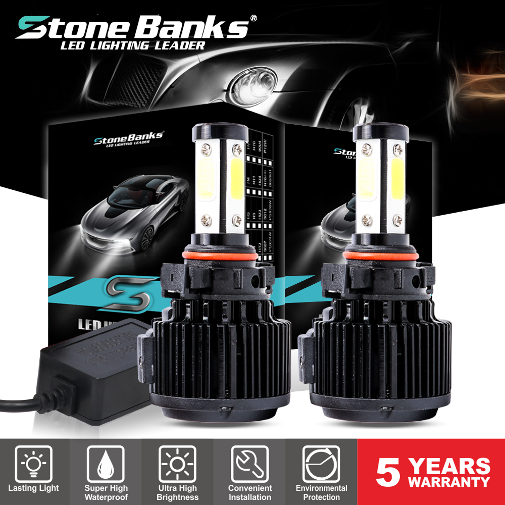 2X H4 Car LED Headlight Bulbs Kit 100W 20000LM High Low 6000k Canbus Free Error