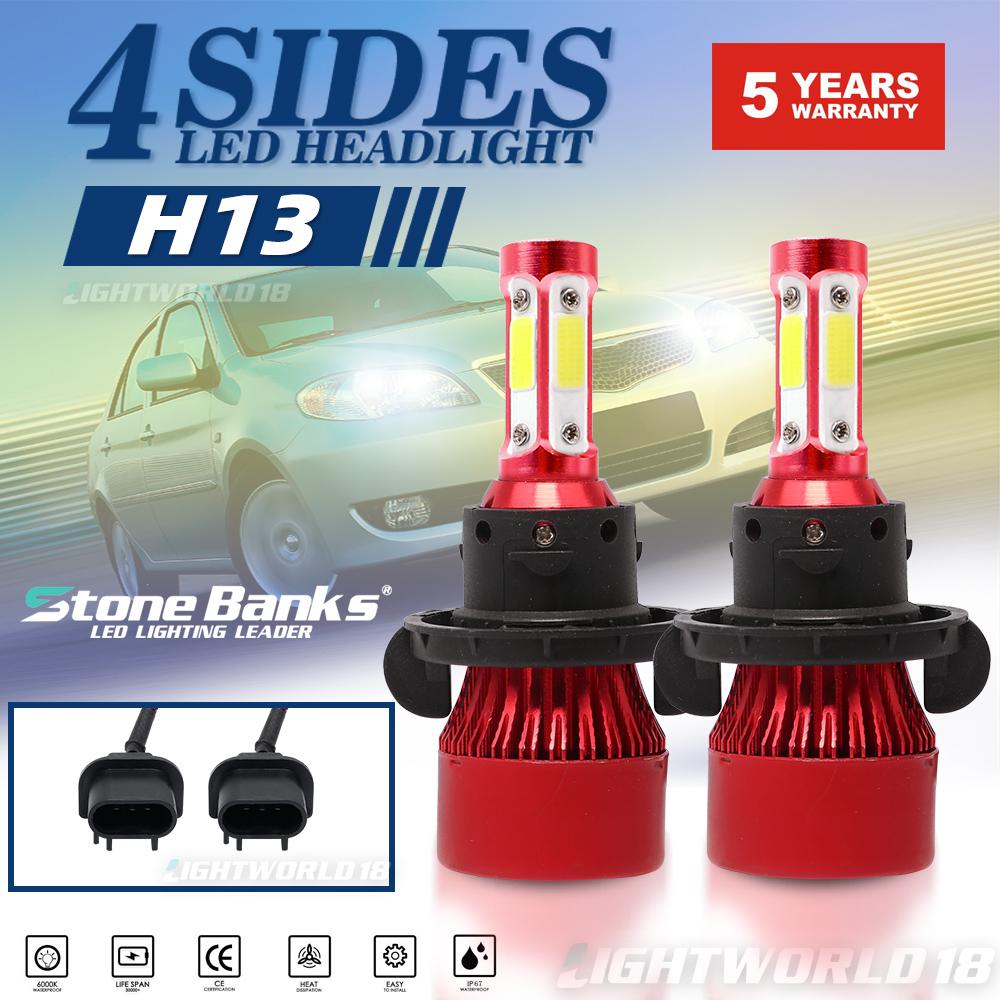 H13 9008 3-Side LED Headlight Lamp 16000LM Bulbs Kit High//Low Beam 6000K White