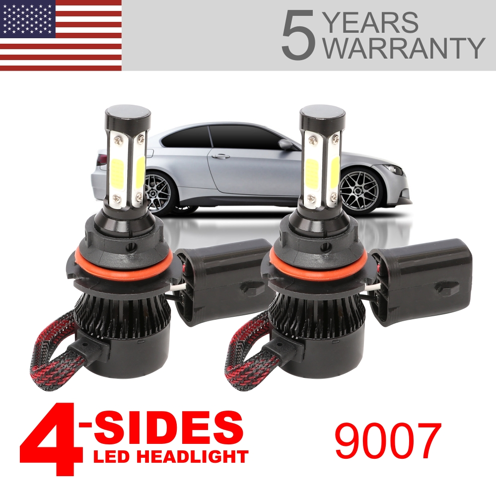 4Side 360° 9007 HB5 LED Headlight Bulb High Low Beam 6500K White 72W 16000LM