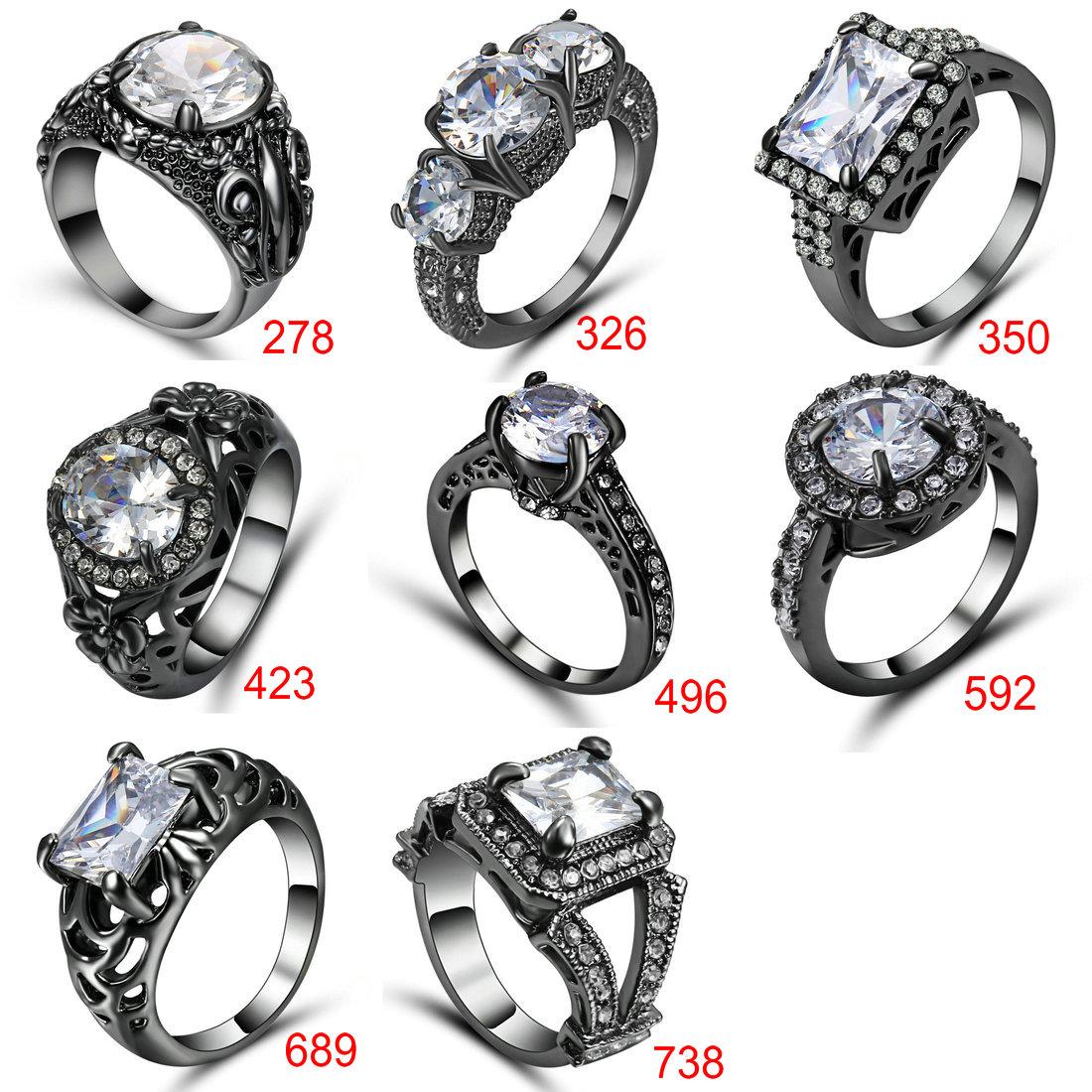 Pink  Topaz CZ Engagement Ring 18K  Black Gold Filled Wedding Band Size 8