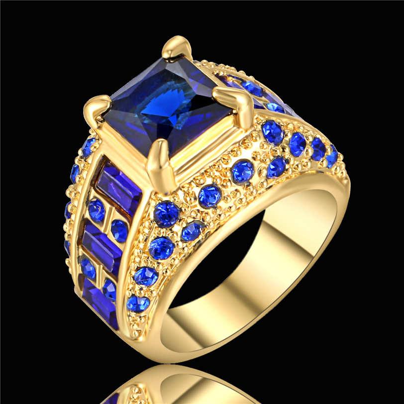 Princess Cut Blue Sapphire Cz Wedding Ring 18k Yellow Gold Filled