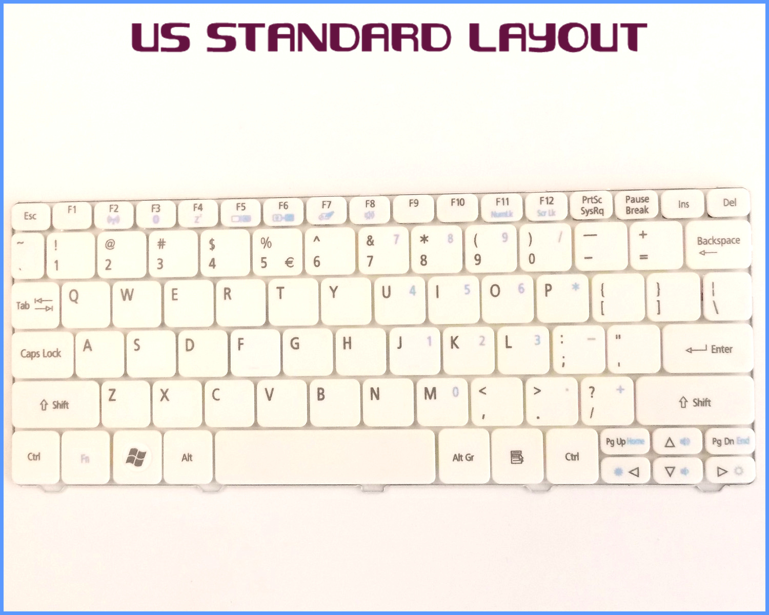 New Laptop US Keyboard for Acer Aspire One D257 D-257 AOD257 NSK-AS01D White