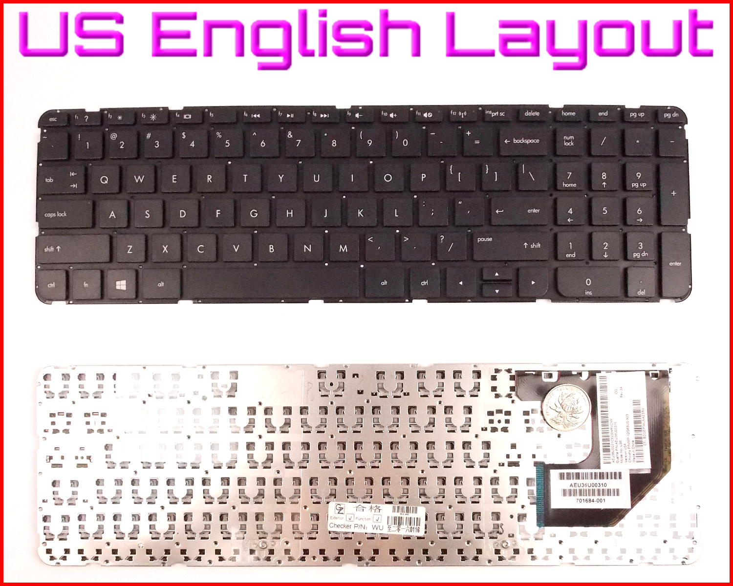 NEW Laptop US Keyboard no Frame For HP Pavilion 15-ac143dx 15-ac143wm 15-ac145ds