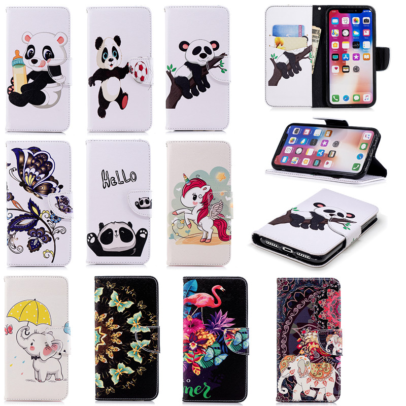 best service 377b1 dcfcd Details about Cartoon Panda Elephant Wallet Case PU Leather Stand Cover For  Various Cell Phone