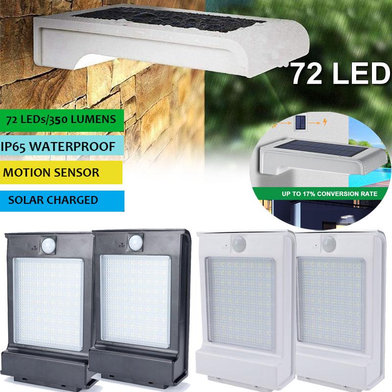Details About 2x 72 Led Solar Ed Motion Sensor Garden Security Lamp Waterproof Wall Light