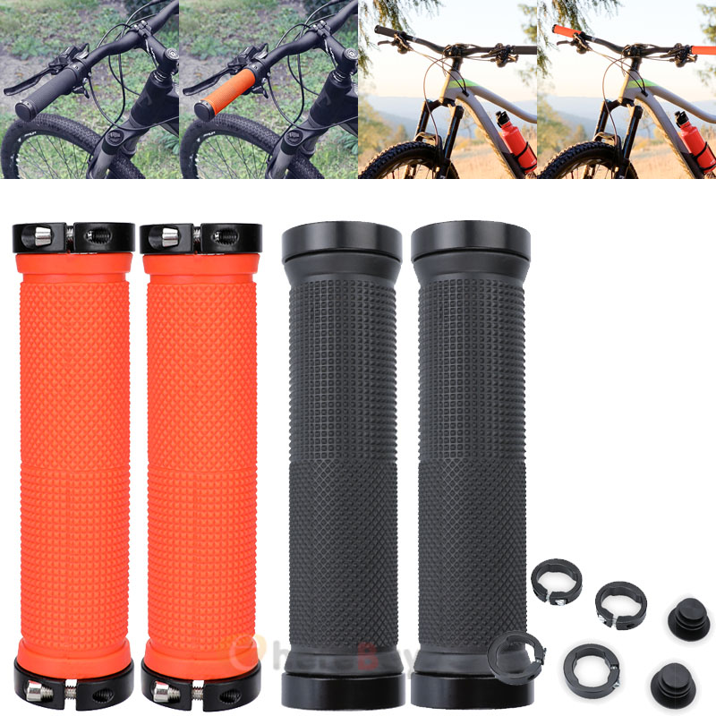 1pair Bicycle Handle Bar Grips Double Lock On Mountain Bike Cycling Hand Grips