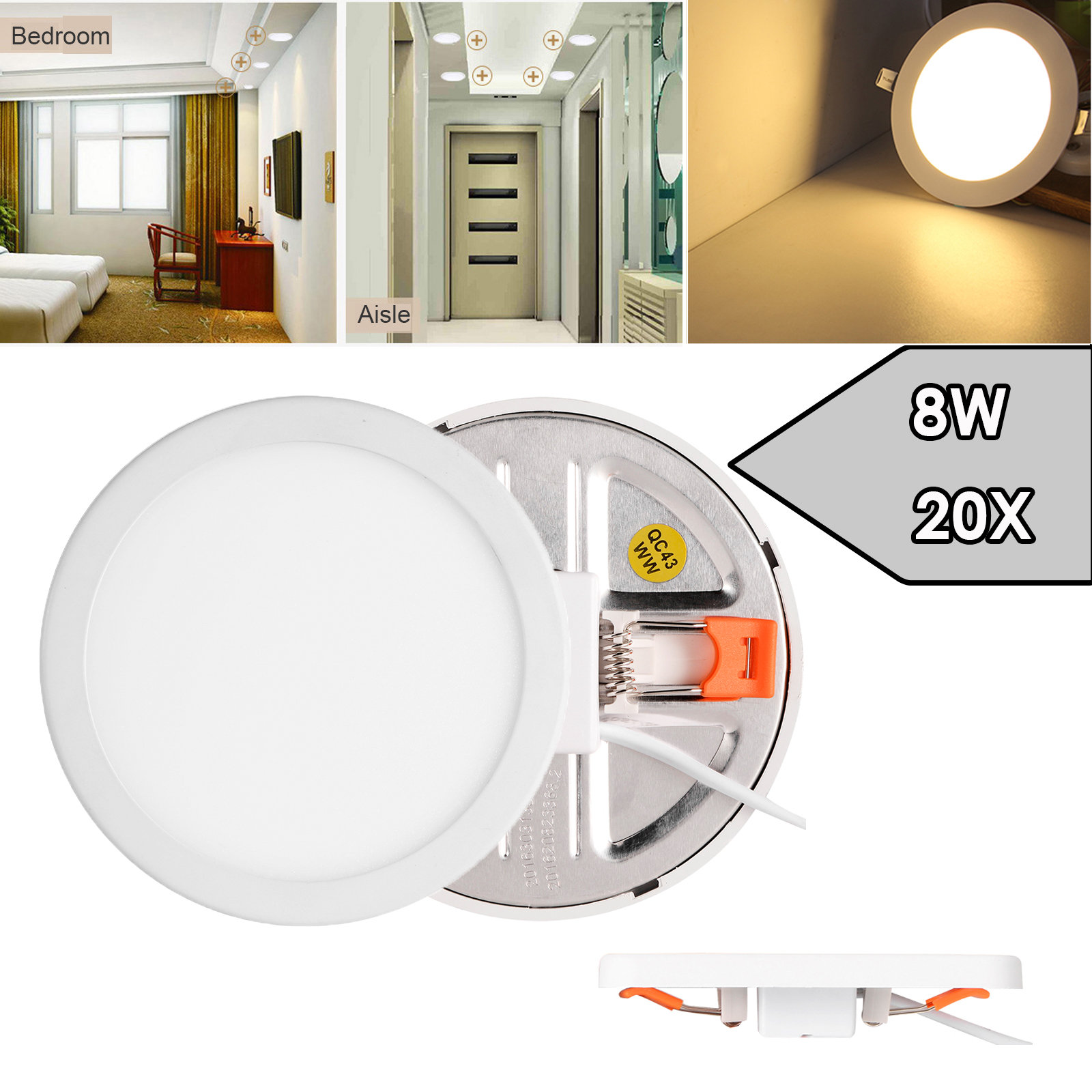 20x 8w Round Led Recessed Ceiling Panel Down Light Free Hole Cut Out Warm White