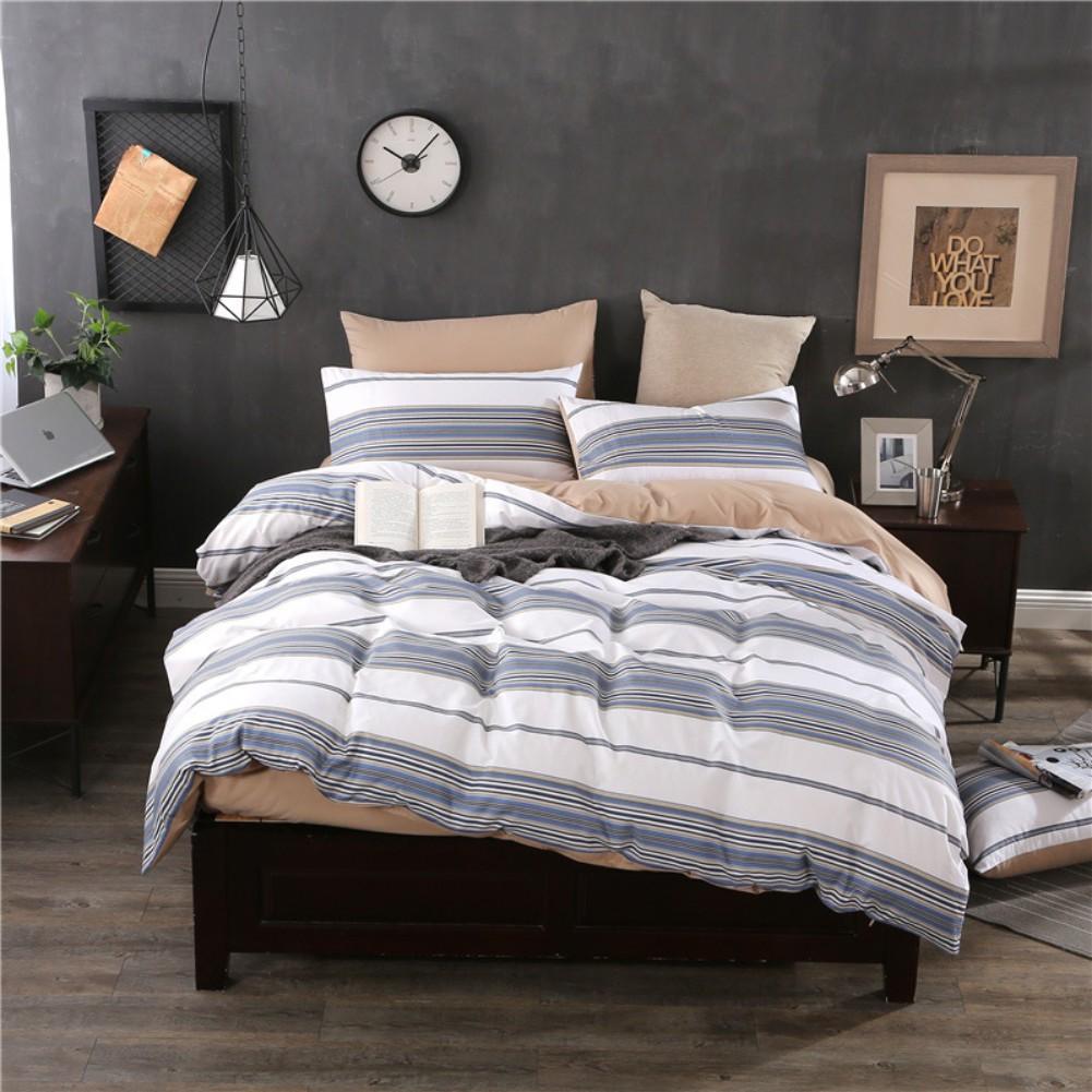 100 cotton grid stripe bedding set duvet cover flat sheet