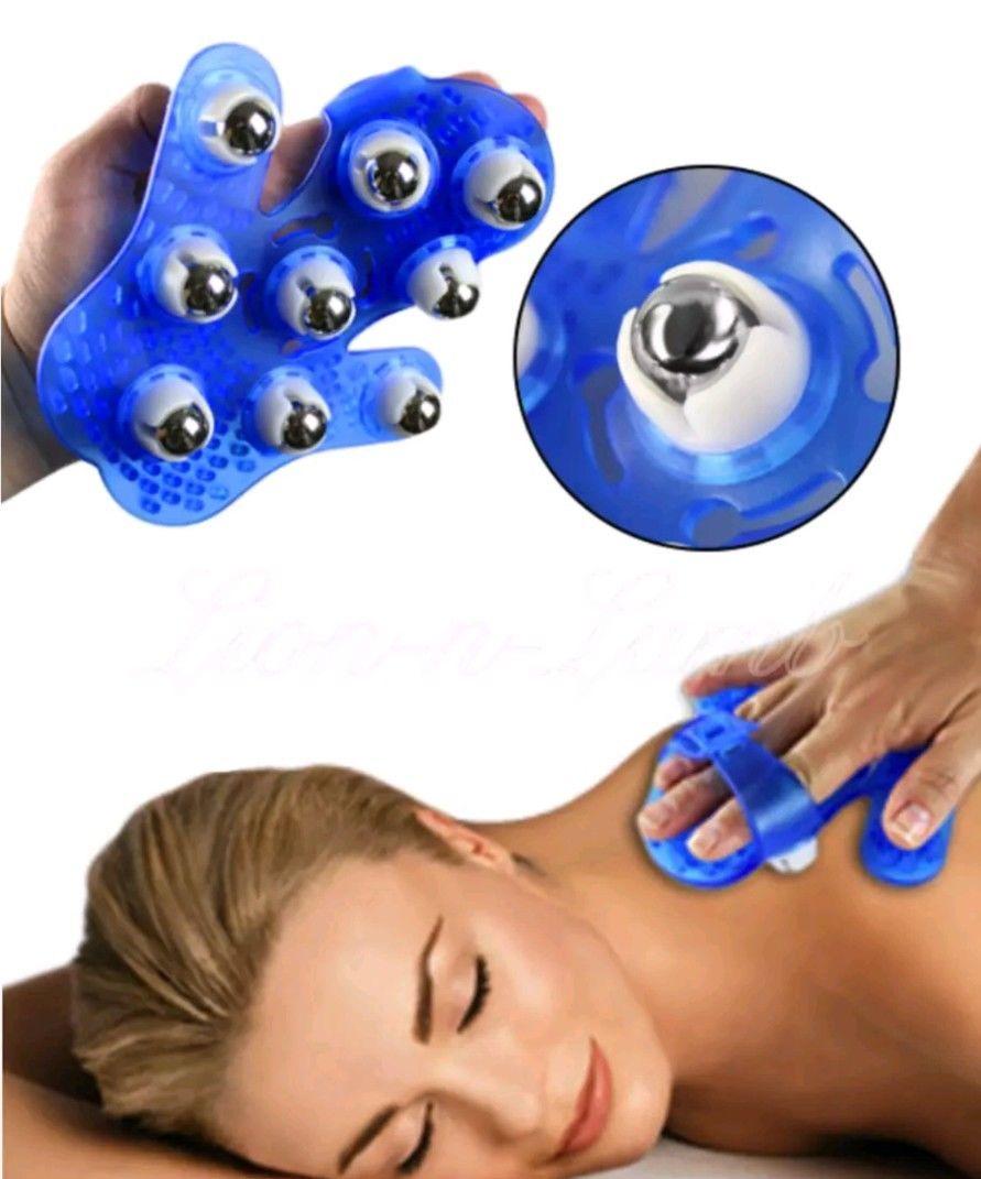 Full Body Massager Roller Ball Massage Glove Hand Held 9 Metal Balls
