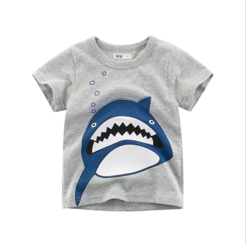 Zerototens Boys Cartoon T-Shirt,1-4 Years Old Toddler Kid Baby Boy Girl Short Sleeve Crewneck Animal Helicopter Printed Pullover Tops Children Blouse Tops