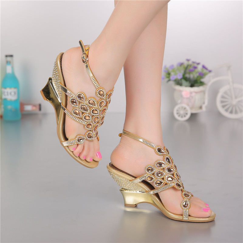 Damens Summer Party Rhinestones Bridal High Heels Sandales Evening Party Summer Schuhes Open Toe e3009c