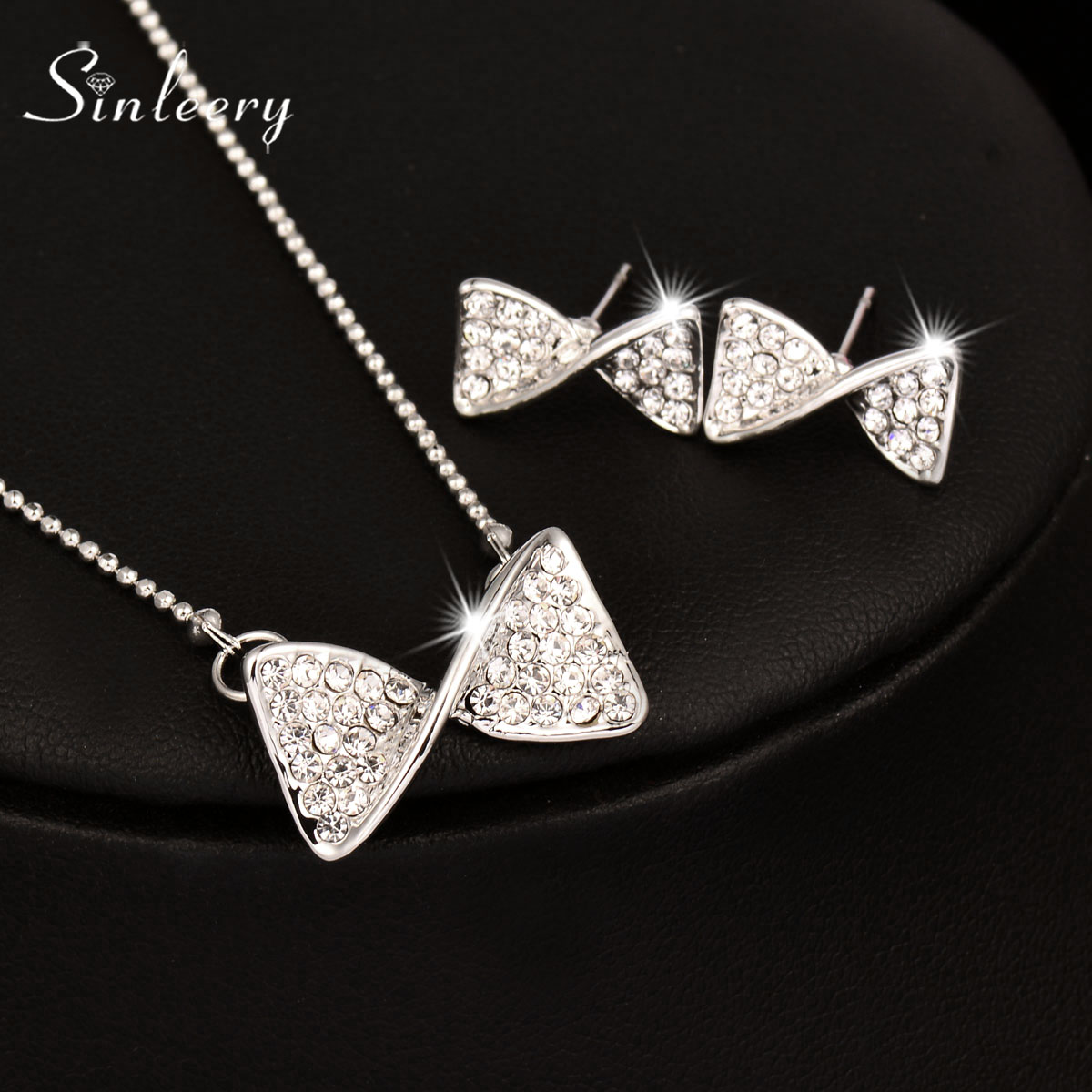 Sparkling Cubic Zirconia Bow Jewelry Sets Silver Color Bowknot Necklace Earrings