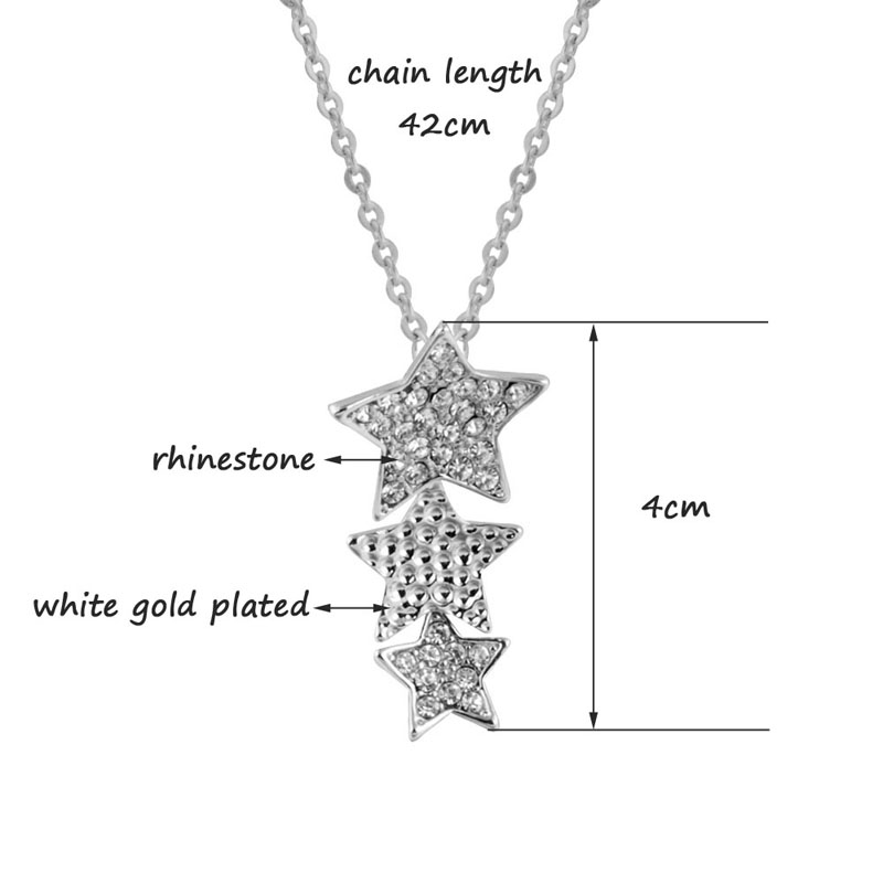 Lovely Three Rhinestone Stars Pendant Necklace Fashion Jewelry White Gold Plated