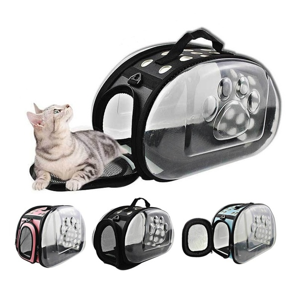 1a7d066d18ee Details about Folding Portable Clear Transparent Pet Pup Dog Cat Carrier  Outdoor Travel Bag