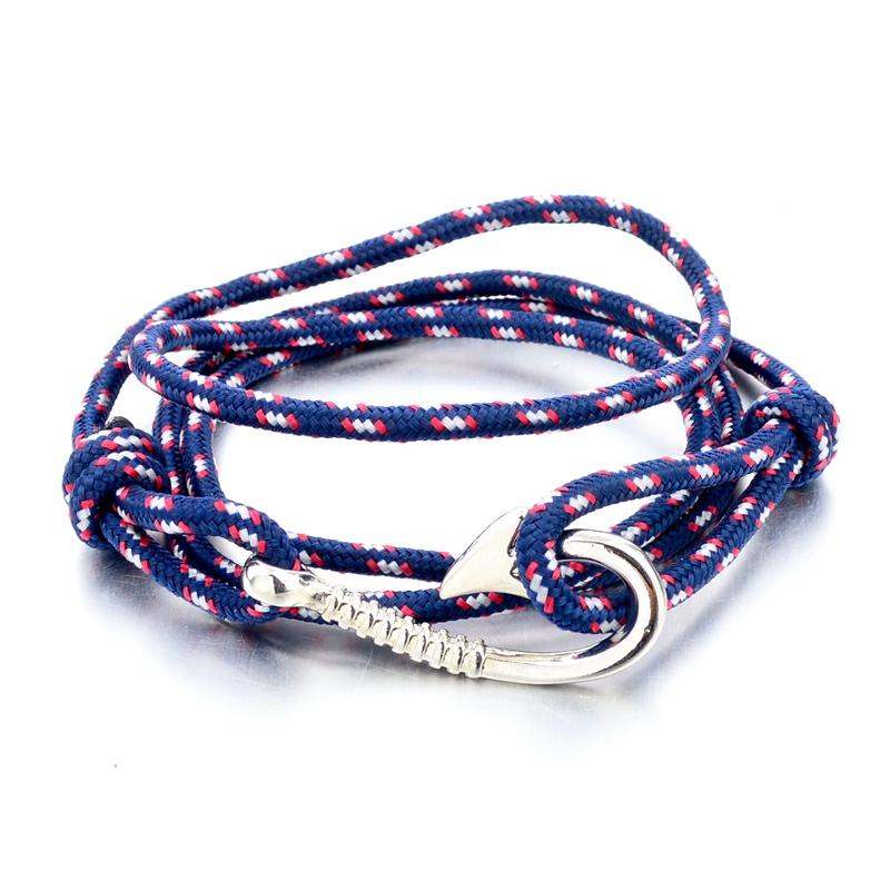 Women men multilayer handmade silver rope wristband fish for Mens fishing bracelet