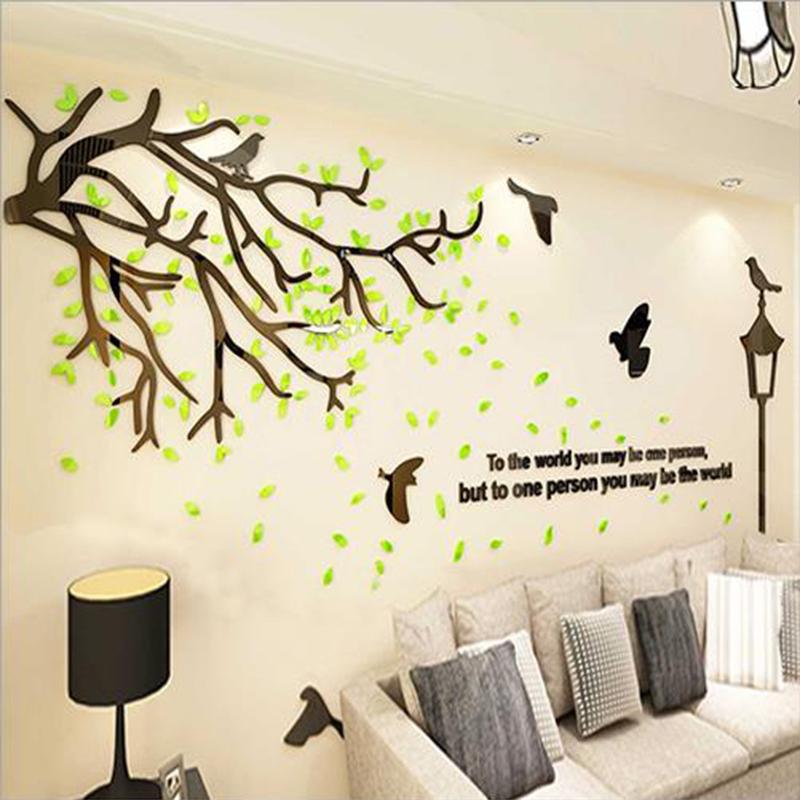 3D Wall Sticker Romantic Acrylic Tree Background Wall Sticker Home Decoration