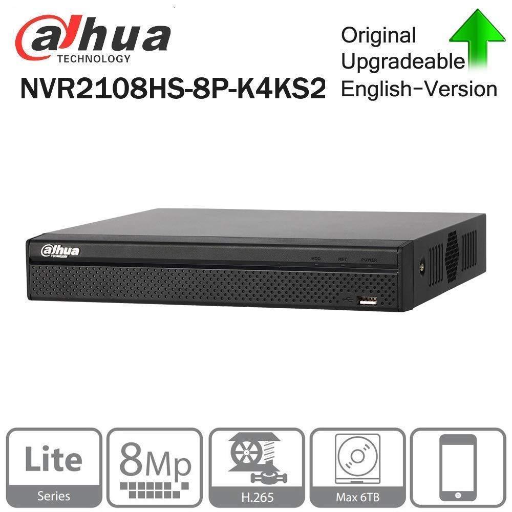 Dahua 4K NVR2108HS-8P-4KS2 8CH 8POE 8MP H.265 Network Video Recorder SATA @ 6TB