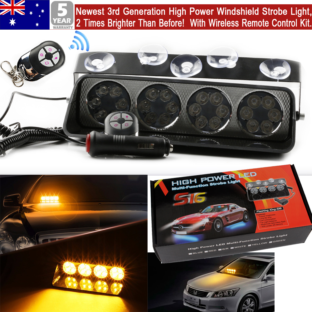 24 LED Amber Yellow Strobe Light Car Dash Emergency 3 Flashing Modes
