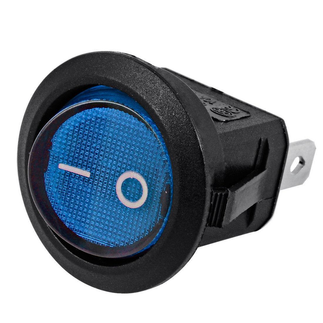 5x Auto Car Blue Light On Off 3 Pin Spst Round Button Dot Boat Of 5 12 Volt Prong Led Rocker Switch Toggle 12v