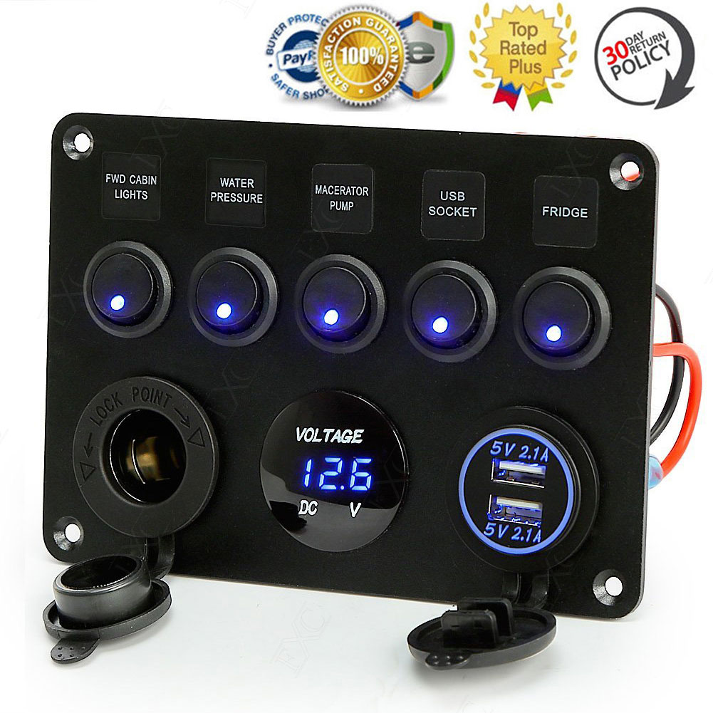 5 Gang Blue LED ON OFF Toggle Switches Overload 12V/24V Systems ...