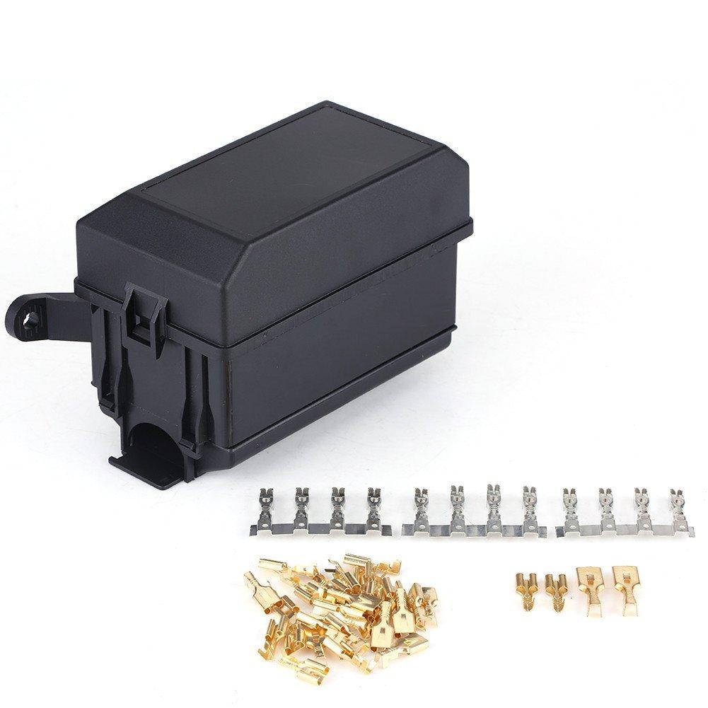 Universal Off Road Car Truck Insurance 6 Way Fuse Relay Holder Box Socket Black