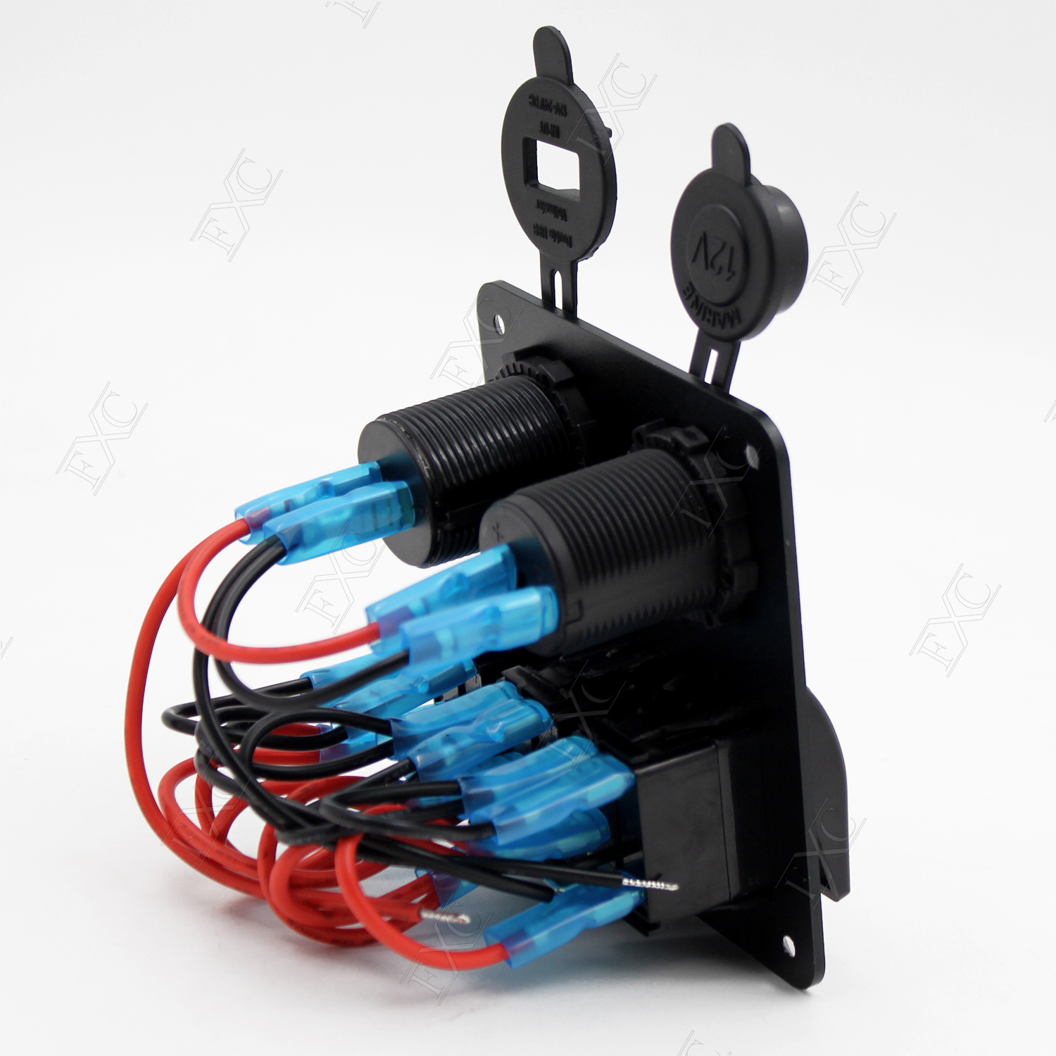 12v 24v 3 Gang Led Rocker Switch Panel Circuit Breakers Charger For Boat Marine Breaker 4 Switches Ebay