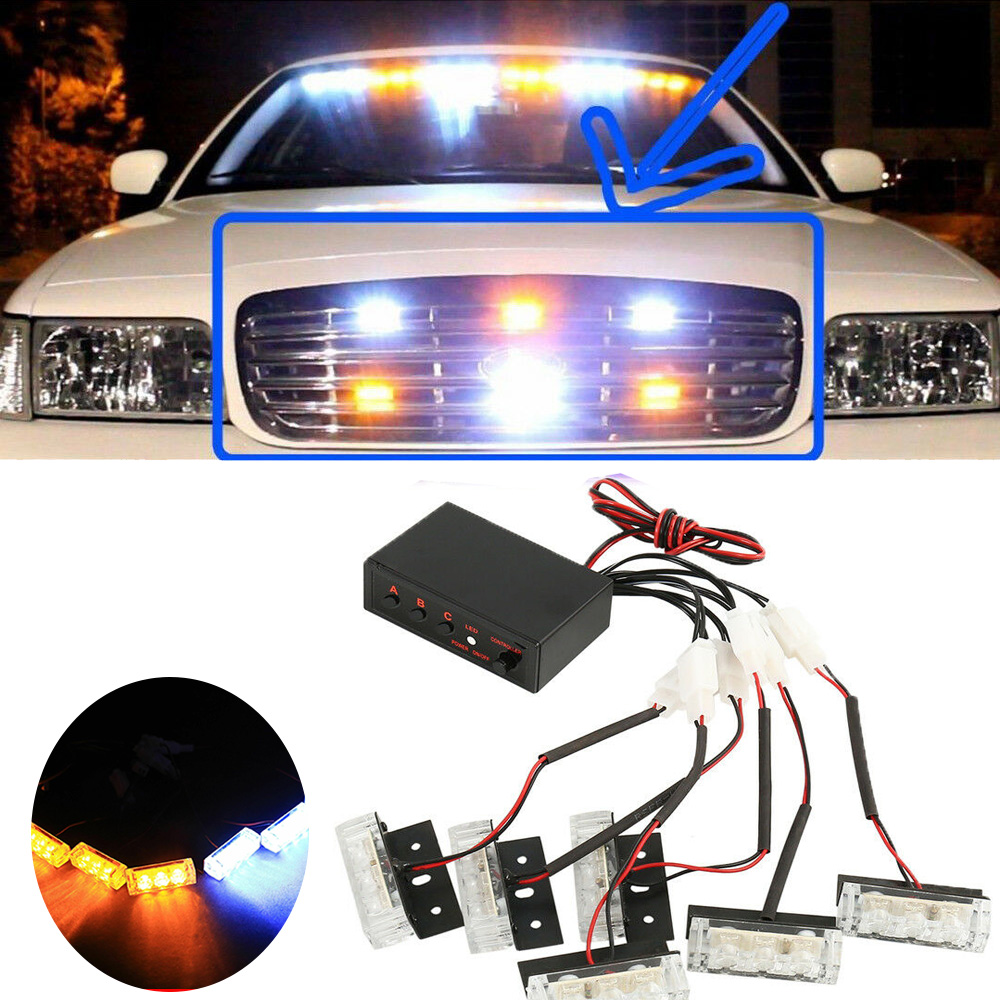 Vehicle Strobe Lights >> Details About Amber And White 18 X Led Emergency Vehicle Strobe Lights For Front Grille Deck