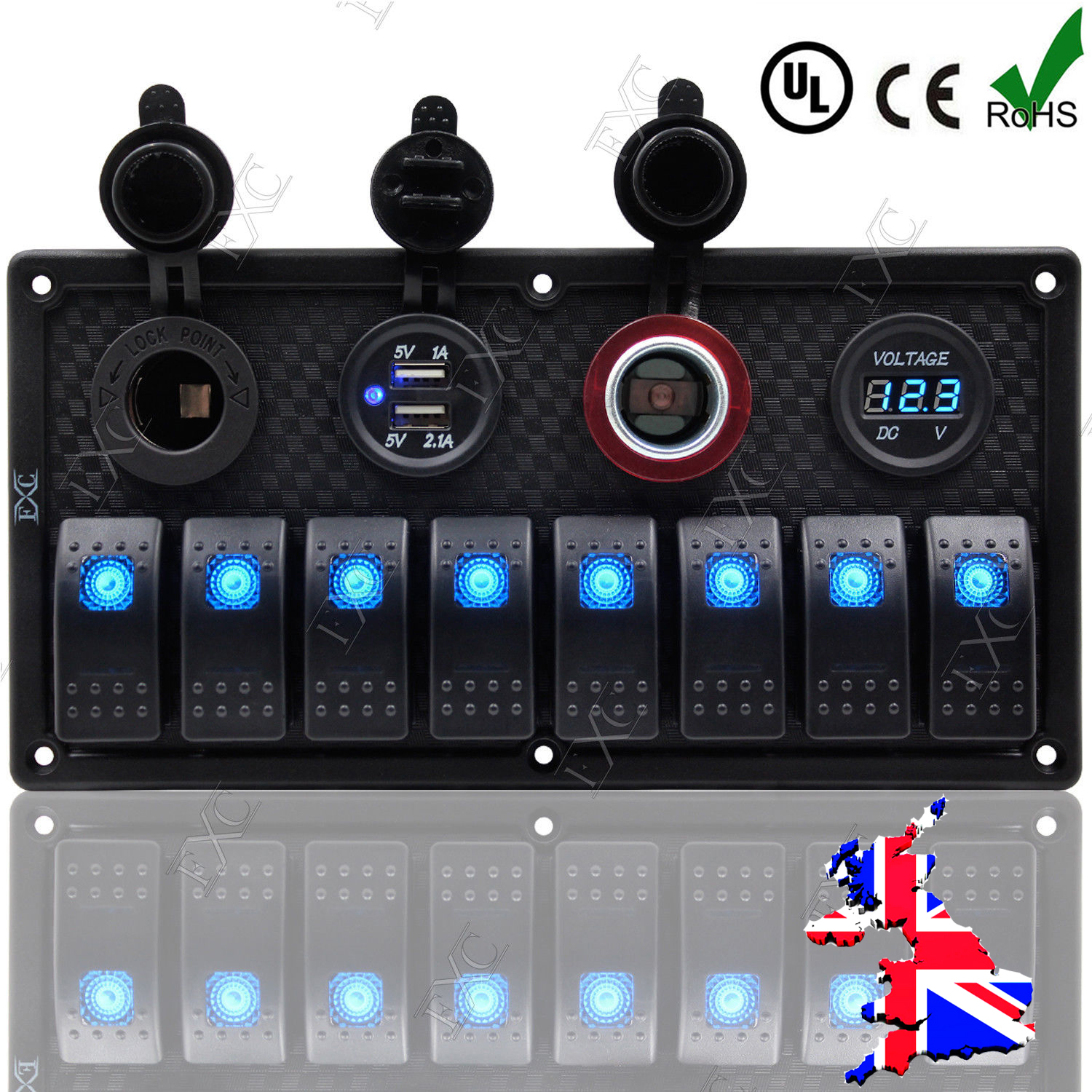 12v 24v Inline Fuse Box Led Rocker Switch Panel 2 Usb Charger Socket 80 Boat Marine